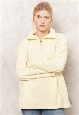 90s Yellow Fleece Pullover Jumper