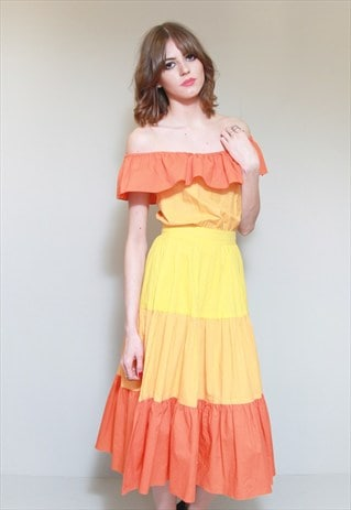 VINTAGE 1970'S PREMIUM YELLOW & ORANGE TIERED MIDI DRESS