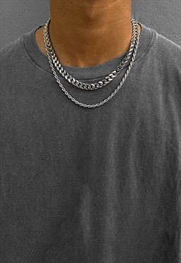 Layer 8mm Curb Rope 5mm Necklace Chain - Silver