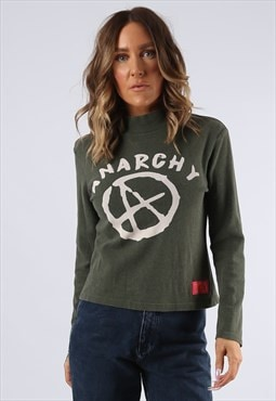 Turtle Neck Long Sleeved Top  BICH Anarchy Print  (K9DP)