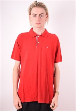 Tommy Hilfiger Mens Vintage Polo Shirt XL Red 90s