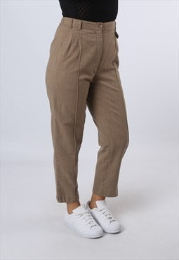 High Waisted Wool Wide Tapered Trousers UK 10 (GKBH)