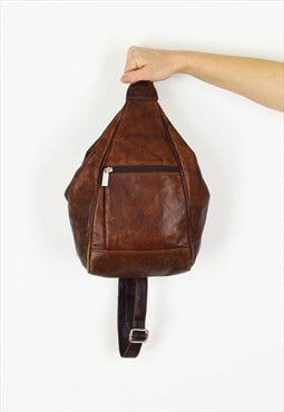 Tan Leather Vintage BackPack Bag