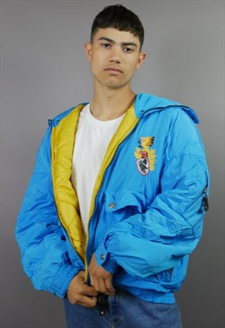 THE MEGA 90'S BRIGHT BLUE HEAD PUFFER JACKET
