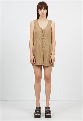 Vintage Brown HENNES Sleeveless Jumpsuit Playsuit