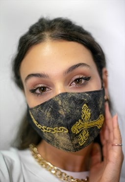 Face covering. Cross/Chain embroidery