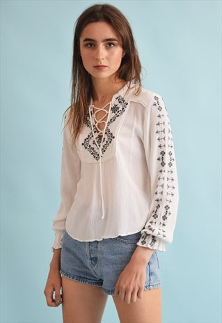 90'S RETRO BOHO FESTIVAL EMBROIDERY NEUTRAL BLOUSE TOP