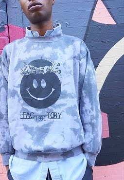 Wasp Factory tie dye rave flyer sweater in black and grey