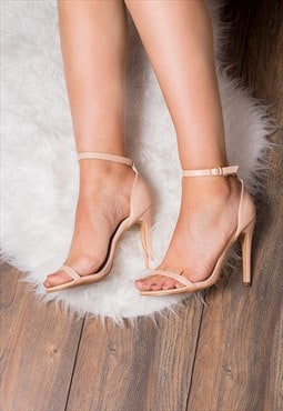 PRETTY High Heel Stiletto Sandals Shoes - Nude Leather Style
