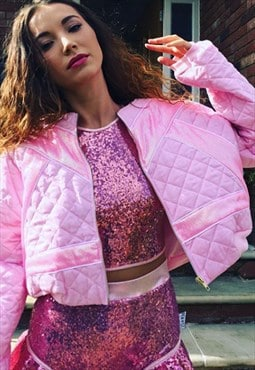 All Baby Pink Crop Bomber Jacket