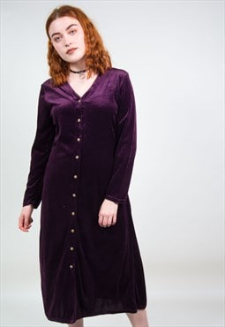Vintage 90's Purple Velvet Midi Dress