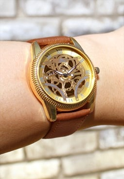 Customised Skeleton-Style Gold Watch