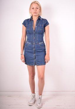 Tommy Hilfiger Womens Vintage Denim Shirt Dress Small 90s