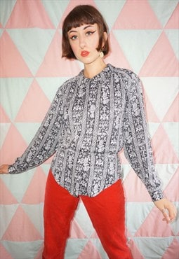 Vintage 80s Black / White Patterned Shirt