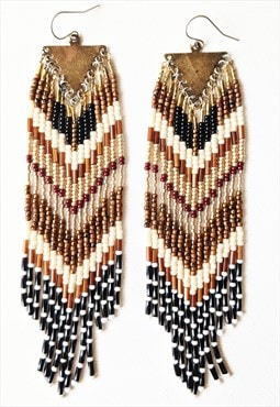 Isabel Long Beaded Fringe Earrings