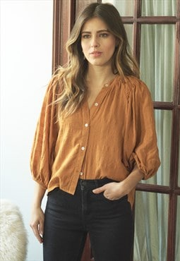Textured button front blouse with puff sleeve in orange