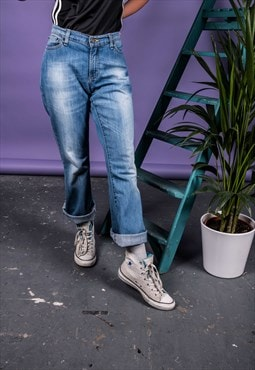 Vintage Levi's Boot Cut Jeans in Blue Denim with Paint Marks