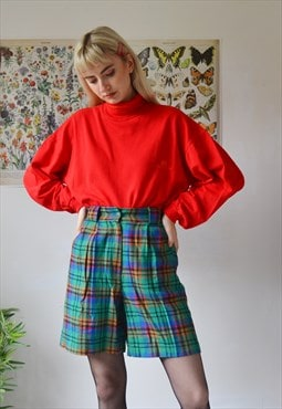 Vintage high waist check winter wool shorts