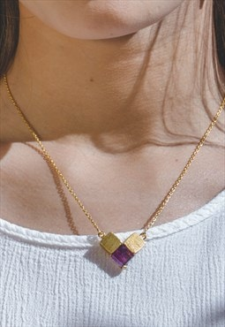 Amethyst Gemstone Unique Triangle Necklace Pendant in Gold
