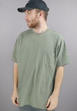 Vintage T-Shirt In Green With 80s Collar