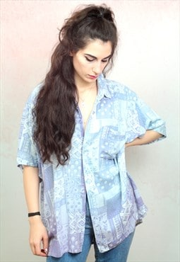 1990s vintage lilac pattern short sleeve viscose shirt