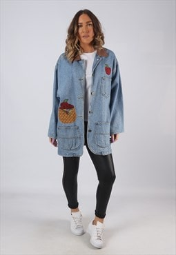 Denim Jacket Embroidered Oversized Longline Long UK 16 (CKCW