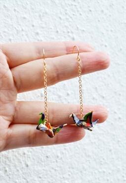 Handmade paper crane earring