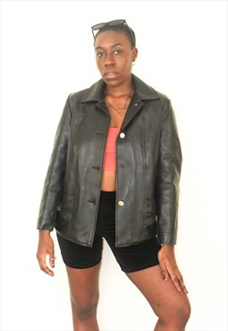 Vintage Trucker Style Leather Jacket