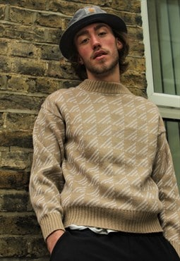 Vintage / 80's / Beige Patterned Jumper