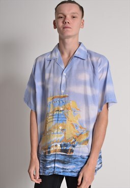 Vintage Abstract Crazy Patterned Short Sleeve Shirt