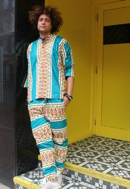 African Print Two Piece - Festival Trousers - Tribal Shirt