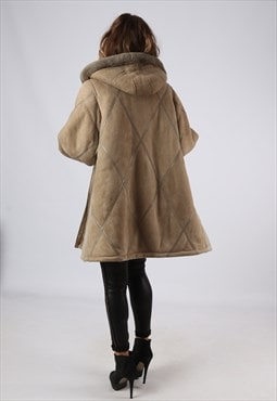 Sheepskin Leather Shearling Hooded Coat UK 16 - 18 (B9DF)