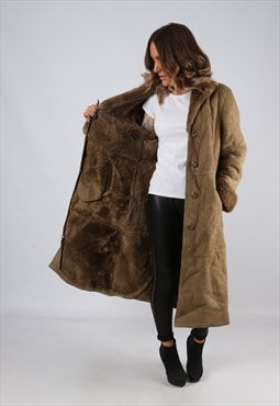 Sheepskin Suede Leather Shearling Coat Long UK 14 (J4F)