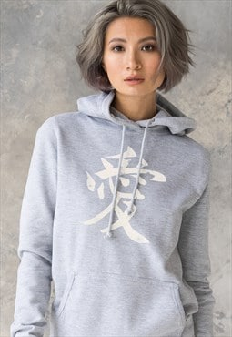 Japanese Calligraphy Kawaii Cute Hoodie Women's Hooded Top