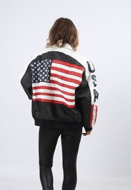 Leather Bomber Jacket USA FLAG Michael Hoban UK 16 (HH3C)