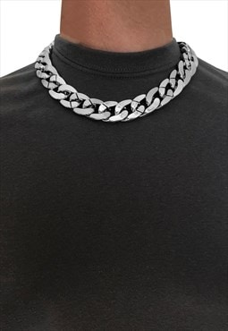"30mm 17"" Choker Wide Chunky Curb Necklace Chain - Silver"