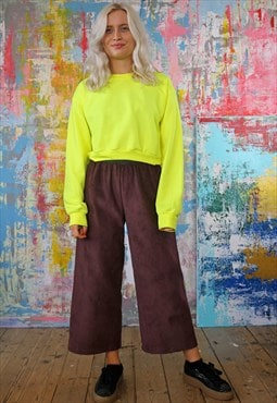 Mulberry Cord Trousers & Neon Crop Sweat Co-ordinates
