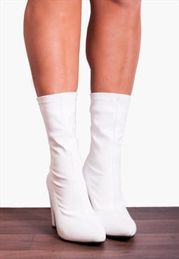 White Stretch Sock Pull On Zip Ankle High Heels Boots