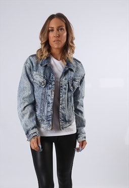 Denim Jacket ACID WASH Cropped Oversized Fitted UK 14 (E54B)