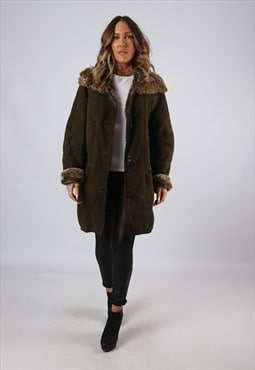 Sheepskin Suede Leather Shearling Coat UK 16 XL (KJ2Z)