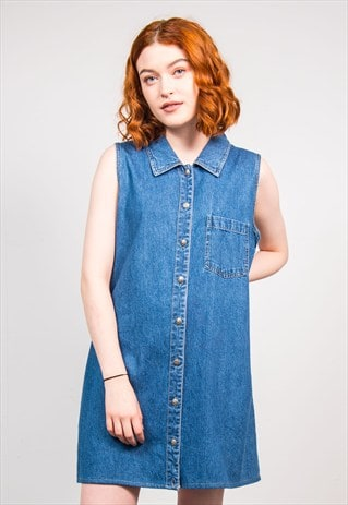 90'S VINTAGE BUTTON FRONT WOOLRICH DENIM DRESS