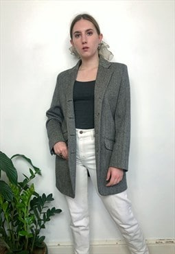 Vintage 80s black & white herringbone tweed jacket