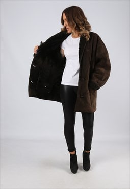 Sheepskin Suede Leather Shearling Coat UK 16 XL (LJ3U)