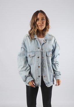 Vintage Denim Jacket Oversized Fitted UK 14 - 16  (J91C)