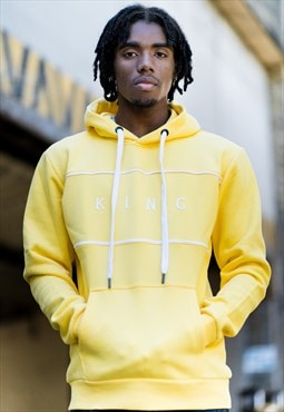 Stepney Hoodie in Yellow with White Print