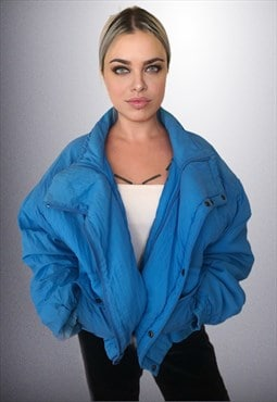 Vintage Electric Blue Puffer Jacket