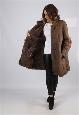 Sheepskin Leather Shearling Coat UK 14 Large (KJ2S)