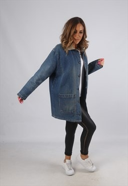 Vintage Denim Jacket Oversized Longline UK 14 Large (HDG)