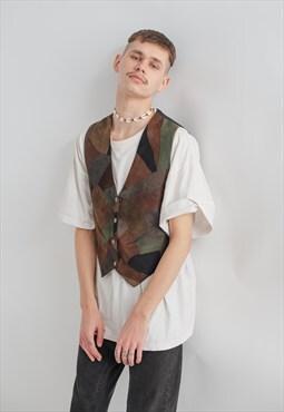 Vintage 70s Fit Popper Fastening Patchwork Leather Vest S