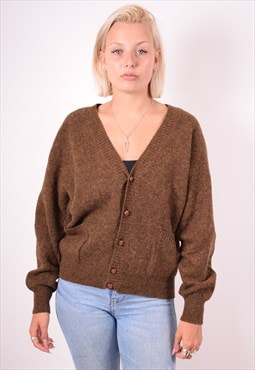 Benetton Womens Vintage Cardigan Jumper Large Brown 90s